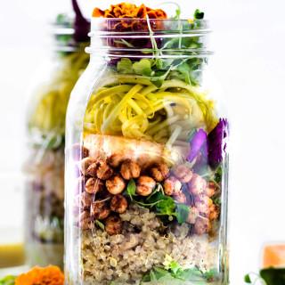 Picnic Ready Mason Jar Salad with Sesame Yogurt Dressing {Vegetarian}