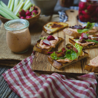 Pimento Cheese with Pickled Green Garlic, Radishes, and Rhubarb
