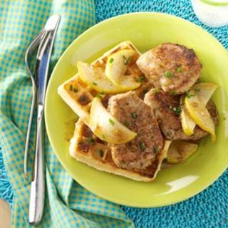 Pork and Waffles with Maple-Pear Topping Recipe