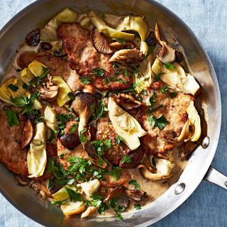 Pork, Mushroom, and Artichoke Fricassee