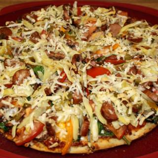 Portobello-Chicken Sausage Pizza