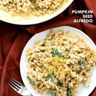 Pumpkin Seed Alfredo Fusilli. Nut-free Vegan Alfredo Recipe