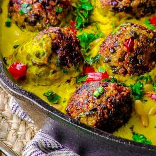 Quinoa Lentil Meatballs in Tahini-Turmeric Sauce