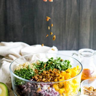 Quinoa Mango Black Bean Salad with Spiced Pepitas & Chipotle Lime Dressing