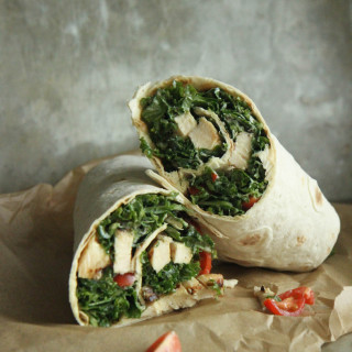 Recipe: Kale Caesar Salad with Grilled Chicken Wrap
