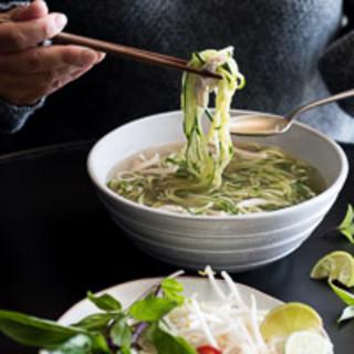 Roast Chicken Pho Zucchini Noodle Soup