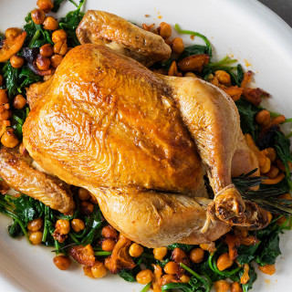 Roast Chicken with Crispy Chickpeas and Kale