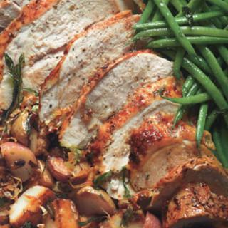 Roast Turkey with Taters, Beans, & Mustard Sauce