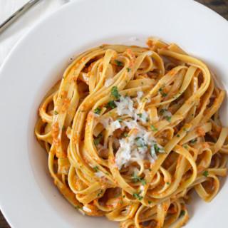 Roasted Garlic and Red Pepper Fettucine Alfredo