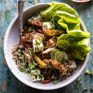 Roasted Greek Chicken and Farro Salad with Fries.