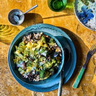 Roasted-Mushroom-and-Broccoli Grain Bowls