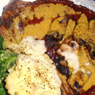 Roasted New York Strip Steak with Port Wine Mustard Sauce