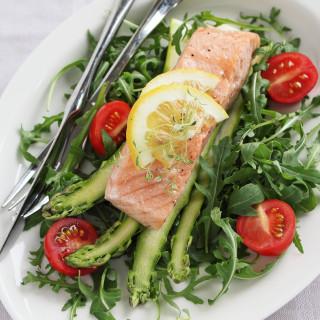 Salmon and Asparagus Salad with Pesto Vinaigrette