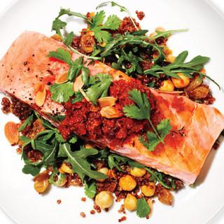 Salmon, Red Quinoa, and Arugula Salad