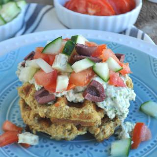 Savory Falafel Waffles with Artichoke Tzatziki