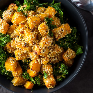 Sesame Crusted Pumpkin with Kale