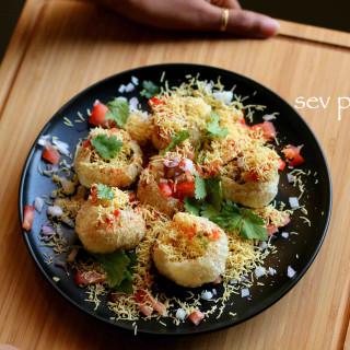 sev puri recipe   how to make sev poori chaat recipe
