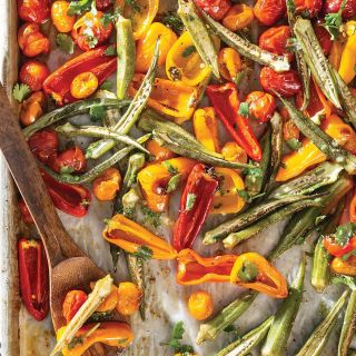 Sheet Pan-Roasted Okra, Tomatoes, and Peppers with Cilantro-Lime Vinaigrett