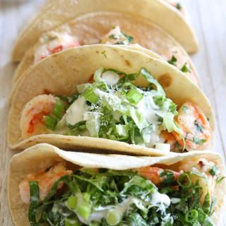 Shrimp Scampi Tacos with Caesar Salad Slaw