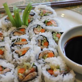 Smoked Salmon and Cucumber Sushi Rolls
