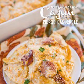 Smoked Sausage & Chicken Cajun Alfredo Pierogi Casserole