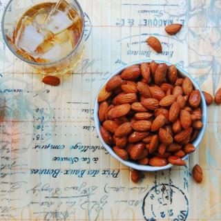 Smoked Spicy Bourbon-Maple Almonds