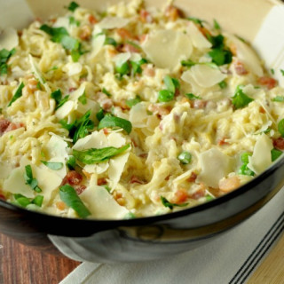 Spaghetti Squash Alfredo with Pancetta and Peas - Low Carb, Gluten Free