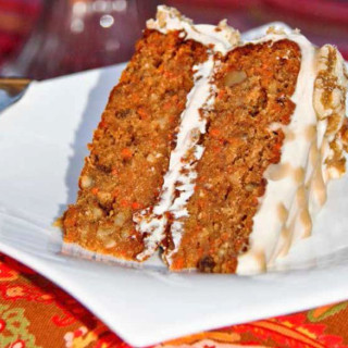 Spiced Carrot Cake with Caramel Cream Cheese Frosting