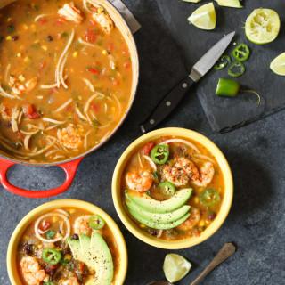 Spicy Jicama Tortilla Soup with Shrimp