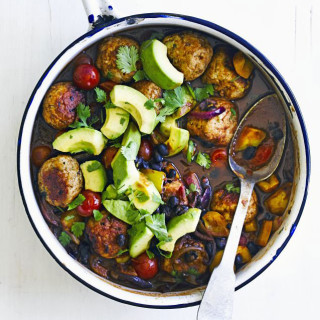 Spicy meatballs with chilli black beans