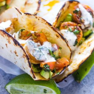 Spicy Shrimp Tacos with Avocado Salsa and Sour Cream Cilantro Sauce
