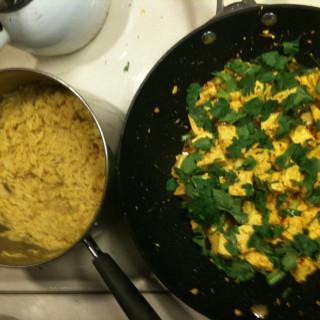 Spicy Stir-Fried Tofu with Coconut Rice