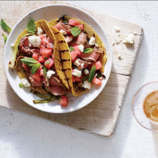 Spicy Flank Steak Tacos with Watermelon Salsa