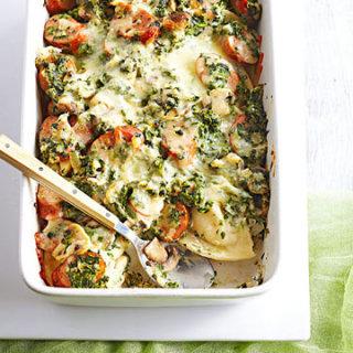 Spinach-Mushroom-Sausage Pierogi Bake