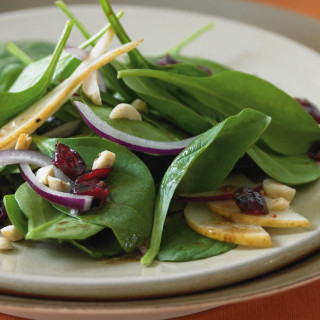 Spinach Salad with Bosc Pears, Cranberries, Red Onion, and Toasted Hazelnut