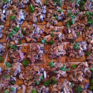 Starter: Mushrooms, Prosciutto, Blue Cheese Crostini