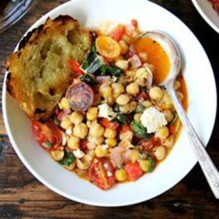 Stewy Chickpeas with Tomatoes, Capers, and Feta