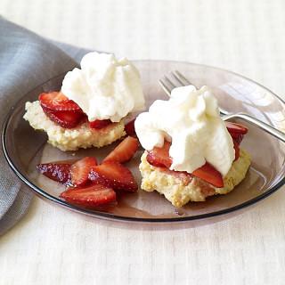 Strawberry shortcake with strawberry sauce