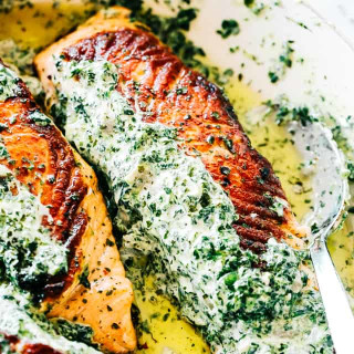 Stuffed Salmon with Spinach and Artichoke Dip