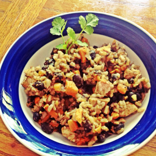 Sweet potato, chicken, black beans, and rice