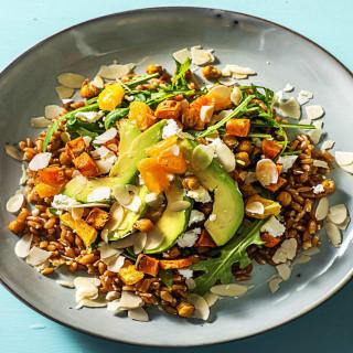 Sweet Potato Sunshine Bowl with Crispy Chickpeas, Avocado, and Citrus Dress