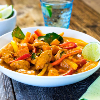 Thai Red Chicken Curry with Kaffir Lime Leaves