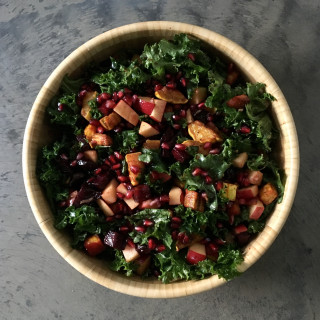 Thanksgiving Salad with kale, delicata squash, beet, apple and pomegranate
