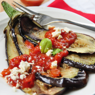 Tomato Stuffed Roasted Eggplant with Feta