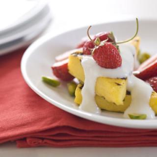 Polenta Cake with Orange Blossom Yogurt, Berries, and Pistachios