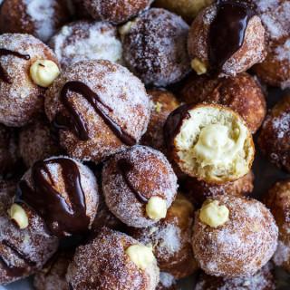 Vanilla Cream Filled Cabernet Hot Chocolate Snowball Doughnuts.