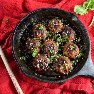 Vegan Teriyaki Meatballs