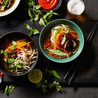 Vegetarian pho with shiitake mushrooms