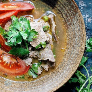 Vietnamese Pho-Inspired Tomato Beef Soup (Paleo, Whole30, Keto)