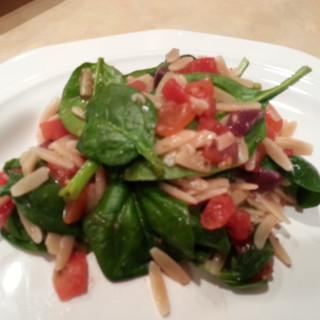 Warm Spinach Orzo Salad